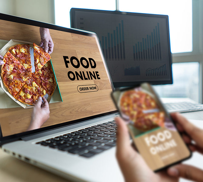 Close up woman ordering food online by internet Concept order